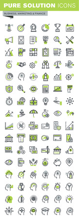 health icons: Thin line icons set of banking, insurance, affiliate marketing, business workflow, career opportunities, team skills, management. Premium quality outline icon collection.