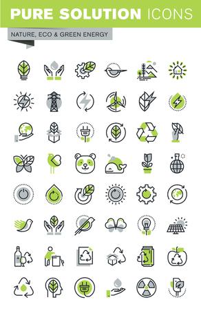 energías renovables: iconos de líneas finas conjunto de tema de reciclaje, el medio ambiente, la vida natural, la tecnología sostenible, la energía renovable. calidad de la captación icono del contorno de primera calidad.