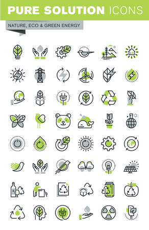 and marine life: Thin line icons set of recycling theme, environment, natural life, sustainable technology, renewable energy. Premium quality outline icon collection.