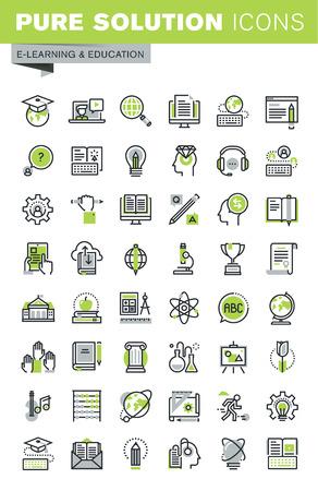 얇은 라인 아이콘은 원격 교육, 온라인 교육 및 교육 과정, 교육을위한 클라우드 솔루션, 직원 교육, 디지털 도서관, 기본 및 기초 연구의 집합입니다.  일러스트