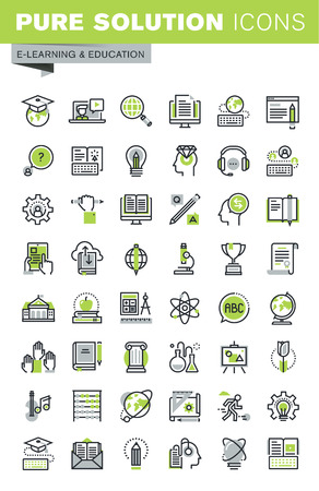 Thin line icons set of distance education, online training and courses, cloud solutions for education, staff training, digital library, basic and elementary study. Premium quality outline icons.