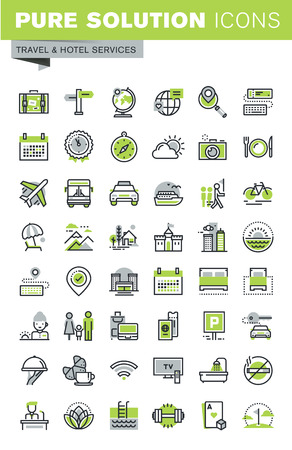Cienka linia zestaw ikon celu podróży, usług hotelowych, latem i zimą wypoczynku, rezerwacja online, nocleg. Jakość zbiór ikon Zarys Premium.
