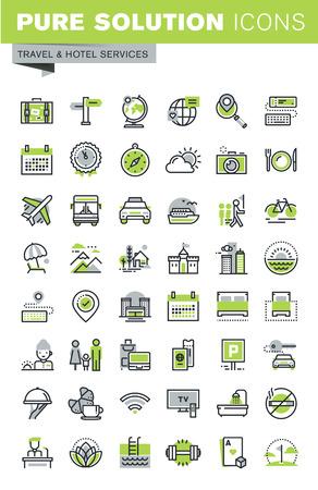 Dunne lijn iconen set van reisbestemming, hotel services, zomer en winter vakantie, het boeken, accommodatie. Premium kwaliteit overzicht icoon collectie. Stock Illustratie