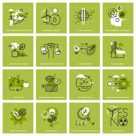환경의가는 선 개념 아이콘, 신 재생 에너지, 지속 가능한 기술, 재활용, 생태 솔루션의 집합입니다. 웹 사이트, 모바일 웹 사이트 및 앱 디자인 프리미 일러스트