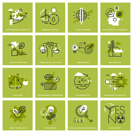 green lines: Set of thin line concept icons of environment, renewable energy, sustainable technology, recycling, ecology solutions. Premium quality icons for website, mobile website and app design.