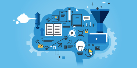 Плоский линия дизайн сайта баннер образования, учебный процесс, мозговой штурм, генерирование знаний. Современные векторные иллюстрации для веб-дизайна, маркетинга и печатных материалов.