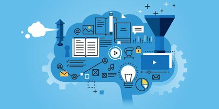 教育的扁線設計網站旗幟,學習過程中,頭腦風暴,產生的知識。現代矢量插圖網頁設計,市場銷售和印刷材料。 向量圖像