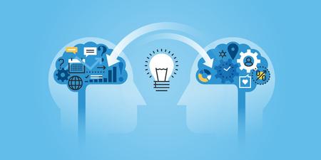 tormenta de ideas: línea de diseño de sitios web bandera plana de intercambio de ideas, experiencias, conocimientos. ilustración vectorial moderno para el diseño web, marketing y material de impresión. Vectores
