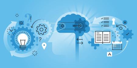 Banner sito web design linea piatta del processo di apprendimento, processo cerebrale, creatività, innovazione, imparare a pensare. Illustrazione moderna di vettore per materiale di web design, marketing e stampa. Vettoriali