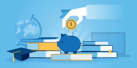 知識、学生ローン、奨学金への投資のフラット ライン デザインのウェブサイトのバナー。Web デザイン、マーケティング、印刷素材のモダンなベク