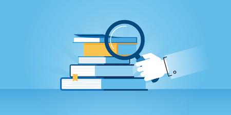 서점의 플랫 라인 디자인 웹 사이트 배너, 책 검색. 웹 디자인, 마케팅 및 인쇄 자료에 대 한 현대 벡터 일러스트 레이 션.
