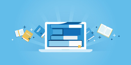 courses: Flat line design website banner of e-learning, e-book, online education. Modern vector illustration for web design, marketing and print material.
