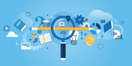 教育: 扁線設計網站旗幟找到合適的教育,職業,回答所有的問題,常見問題解答。現代矢量插圖網頁設計,市場銷售和印刷材料。