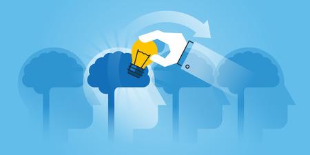 Vlakke lijn ontwerp website banner van brainstormen, gebruik maken van het beste idee, consulting, marktonderzoek, marketing. Moderne vector illustratie voor web design, marketing en drukwerk.