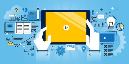 Płaska linia projektowanie stron internetowych sztandar edukacji online, samouczki wideo, szkolenia online oraz kursów. Nowoczesne ilustracji wektorowych do projektowania stron internetowych, marketingu i materiału do drukowania.
