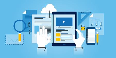 전자 학습의 플랫 라인 디자인 웹 사이트 배너입니다. 웹 디자인, 마케팅 및 인쇄 자료에 대한 현대 벡터 일러스트 레이 션입니다.