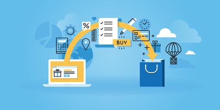 Vlakke lijn ontwerp website banner van e-commerce. Moderne vector illustratie voor web design, marketing en drukwerk.