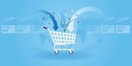 Flat line design website banner of shopping, product order, add to cart. Modern vector illustration for web design, marketing and print material. Illustration