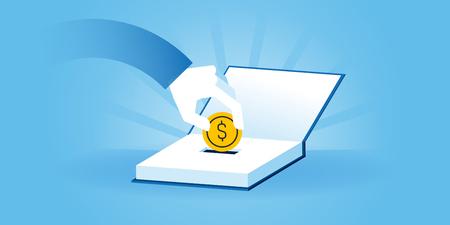 Flat Line sito web design di banner di investimenti nella conoscenza, prestiti agli studenti, borse di studio. illustrazione vettoriale moderno per il web design, marketing e materiale di stampa. Vettoriali