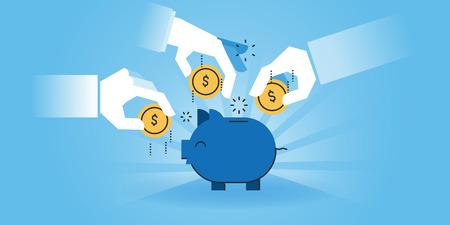 Flat line design website banner van familie sparen, bankieren, geld besparen, investeringen. Moderne vector illustratie voor webdesign, marketing en printmateriaal.