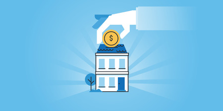 housing: Flat line design website banner of housing loans, banking, saving money for a real estate, investment. Modern vector illustration for web design, marketing and print material.