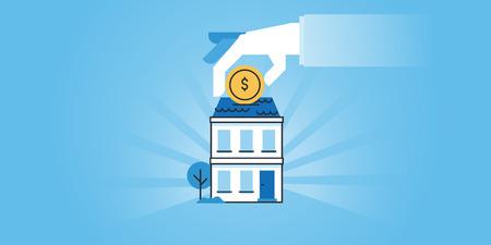 Platte lijn ontwerp website banner van huisvesting leningen, bankieren, geld te besparen voor een onroerend goed, investeringen. Moderne vectorillustratie voor webdesign, marketing en printmateriaal.