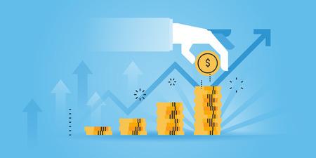 Flat line design website banner of investment, money savings. Modern vector illustration for web design, marketing and print material. Vettoriali