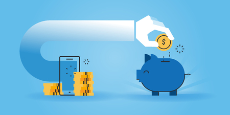money and saving: Flat line design website banner of saving money while shopping online, cheap online shopping. Modern vector illustration for web design, marketing and print material.