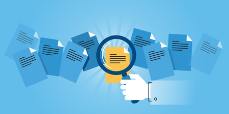documentos: línea de diseño de sitios web bandera plana de búsqueda de documentos. ilustración vectorial moderno para el diseño web, marketing y material de impresión.