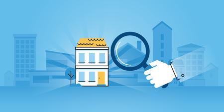 Vlakke lijn ontwerp website banner van vastgoed, aankoop en verkoop van appartementen en huizen, op zoek naar de juiste woning, vastgoedkantoor. Moderne vector illustratie voor web design, marketing en drukwerk.