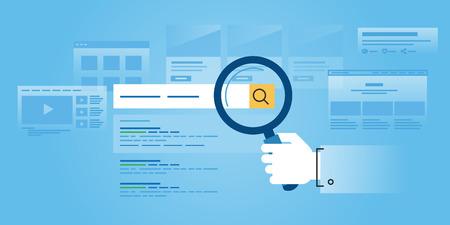 웹 검색, 검색 엔진 최적화, 순위 사이트, 평가의 플랫 라인 디자인 웹 사이트 배너입니다. 웹 디자인, 마케팅 및 인쇄 자료에 대한 현대 벡터 일러스트 레이 션입니다. 스톡 콘텐츠 - 54405554