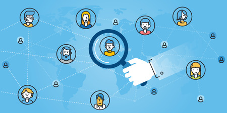 Flat line design website banner of networking, find the right person, searching people for the job, human resources. Modern vector illustration for web design, marketing and print material.