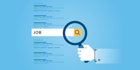 Vlakke lijn ontwerp website banner van zoeken naar een baan, carrière, werkgelegenheid, human resources. Moderne vector illustratie voor web design, marketing en drukwerk.