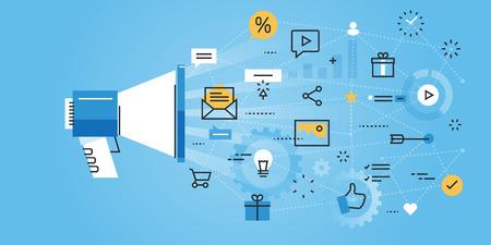 redes de mercadeo: línea de diseño de sitios web bandera plana de los medios sociales. ilustración vectorial moderno para el diseño web, marketing y material de impresión.