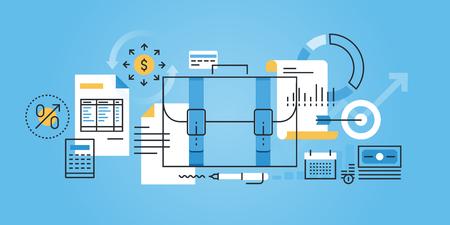 contabilidad: línea de diseño de sitios web bandera plana de los negocios, las finanzas, la contabilidad, la contabilidad. ilustración vectorial moderno para el diseño web, marketing y material de impresión.