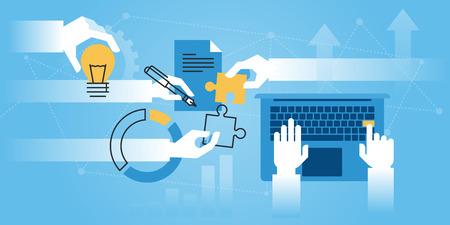 平らな線は、会社情報、ビジネス ソリューション、サービスを私たちについてのウェブサイトのバナーをデザインします。Web デザイン、マーケティ