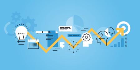 フラット ライン デザインのウェブサイトのアイデアから実現までの開発プロセスのバナー。Web デザイン、マーケティング、印刷素材のモダンなベ