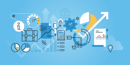Flat line design website banner of business analysis and planning. Modern vector illustration for web design, marketing and print material. Illustration