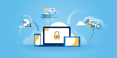 Плоский линия дизайн сайта интернет-безопасности, информационной безопасности, защиты данных, облачных вычислений. Современные иллюстрации для веб-дизайна, маркетинга и печатных материалов.