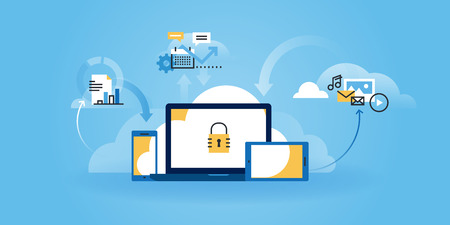 Flat line design website of internet security, information security, data protection, cloud computing. Modern illustration for web design, marketing and print material. Vettoriali