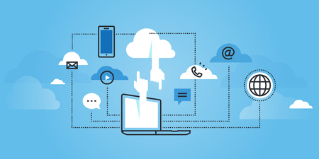 Flat line design website of cloud computing services. Modern illustration for web design, marketing and print material.