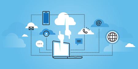 Platte lijn ontwerp website van cloud computing-diensten. Moderne illustratie voor webdesign, marketing en printmateriaal. Stock Illustratie