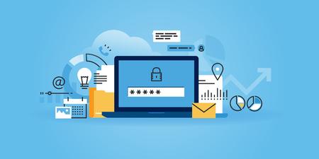website plana projeto da linha de segurança on-line, proteção de dados, o software antivírus, computação em nuvem. Ilustração moderna para o projeto web, marketing e material de impressão.