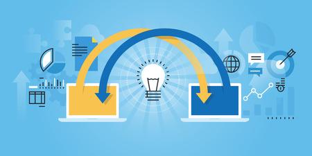 share information: Flat line design website of online share ideas, online brainstorming, cooperation, teamwork. Modern illustration for web design, marketing and print material.