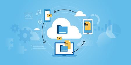 Platte lijn ontwerp website van zakelijke cloud computing. Moderne illustratie voor webdesign, marketing en printmateriaal.