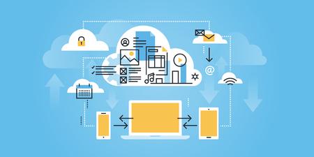 Vlakke lijn ontwerp website van cloud computing. Moderne illustratie voor web design, marketing en drukwerk. Stock Illustratie