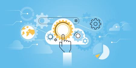 Vlakke lijn ontwerp website van cloud computing-technologie. Moderne illustratie voor web design, marketing en drukwerk. Stock Illustratie