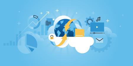Nube concepto de computación para el sitio web. línea plana, ilustración, diseño moderno para el diseño web, marketing y material de impresión.