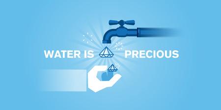 línea de diseño web plana de agua, los recursos hídricos, la conservación del agua, tratamiento de aguas, fuente de salud y de vida. Ilustración moderna para el diseño web, marketing y material de impresión. Ilustración de vector