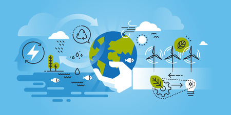 Flat line design website of environment, renewable energy, green technology, recycling, nature, biosphere conservation. Modern illustration for web design, marketing and print material.
